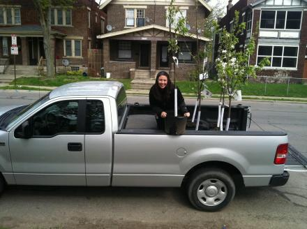 Trish from Local Matters delivers fruit trees from Oakland Nursery donated by Green Funds of The Columbus Foundation for Earth Day!