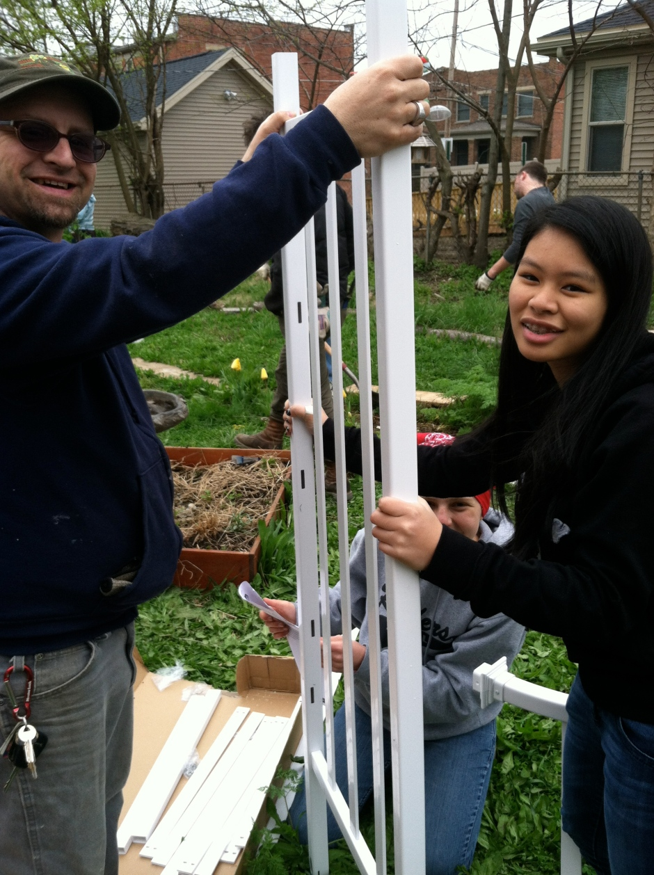Woody Installs Trellis at 5th Street Bird Sanctuary